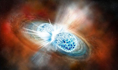 An artist's conception of two neutron stars colliding